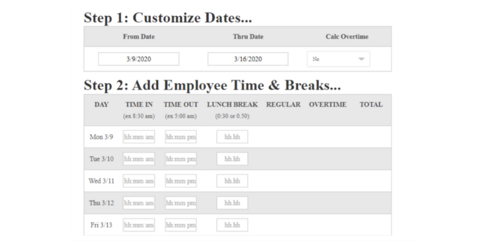 free version calculates the total payroll hours